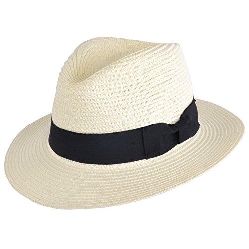 MAZ Unisex Paglia di carta schiacciabile pieghevole estate Panama Fedora cappello con fascia e fascia regolabile in 8 colori crema M