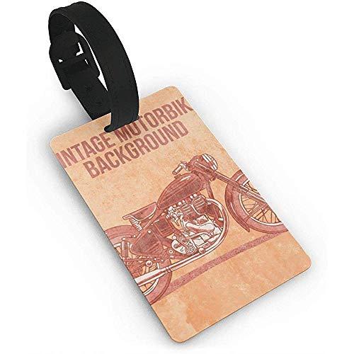 Vintage Motorrad Hintergrund Kunststoff PVC Kofferanhänger Kofferetiketten Reisetasche ID Tags
