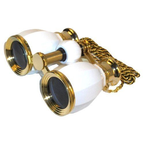 HQRP Glasses - Prismáticos 4 x 30 para teatro, blanco y dorado [Importado]