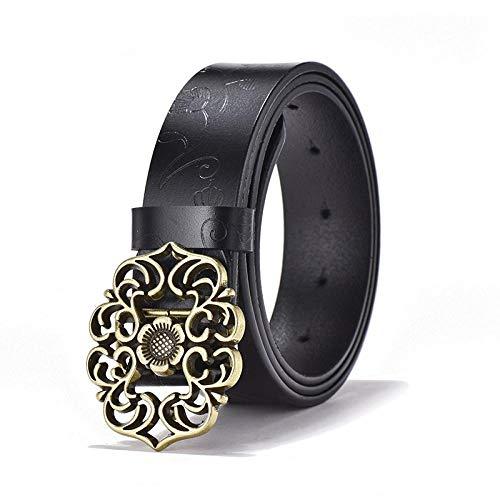 YHKF Cinturón De Mujer De Moda Cinturón De Cuero De Flor Tallada para Mujer Correa Cinturón De Jeans Vintage