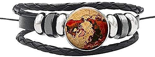 YOUZYHG co.,ltd Collar Vintage World Map Globe Pulsera de Cuerda de Cuero Botones de cúpula de Cristal Pulsera de África para Mujeres Hombres Joyería de Regalo