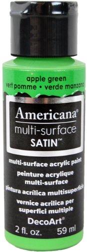 DecoArt Americana Multi-Surface Satin Acrylic Paint, 2-Ounce, Apple Green