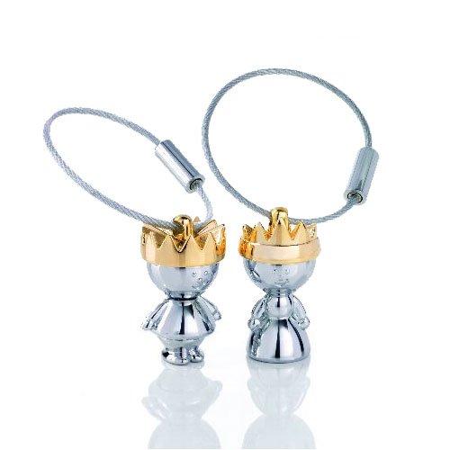 TROIKA Schlüsselanhänger Set LITTLE KING & LITTLE QUEEN - KR9-38/CH - Set König & Königin - in farbiger Verpackung - glänzend, mit goldener Krone - das Original von TROIKA
