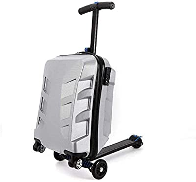 21 Inch Scooter Luggage Hardshell Luggage Folding Scooter Trolley Suitcase Trolley for Adult Waterproof Luggage Box (Silver)
