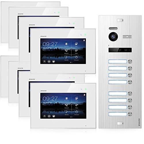 BALTER EVO Video Türsprechanlage ✓ Touchscreen 7 Zoll Monitor ✓ Türstation für 8 Familienhaus Türklingel ✓ 2-Draht BUS ✓ 150° Weitwinkel-Kamera