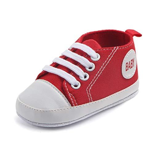 Babyschuhe Auxma Baby Schuhe Sneakers aus Leinwand mit weichen und rutschfesten Sohle Für 3-6 6-12 12-18 Monat (3-6 M, Rot)