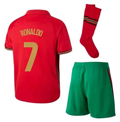 LISIMKEM 2020-2021 Kids/Youths Home Soccer Jersey/Short/Socks Colour Red (Portugal Ronaldo #7(8-9years/size24))