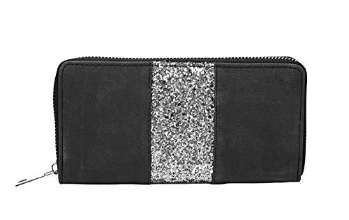 CAPRIUM Geldbörse mit umlaufendem Pailletten Streifen, Reißverschluss, Portemonnaie, Damen 00055001 (Schwarz)
