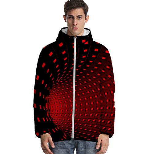 URVIP Unisex 3D Printed Tie-Dyed Puffer Coat Hooded Down Jacket Multi-38 M