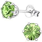 EYS JEWELRY Damen Ohrstecker rund 925 Sterling Silber Swarovski Elements 6 mm peridot-grün Ohrringe im Geschenk-Etui Glitzer Kristalle