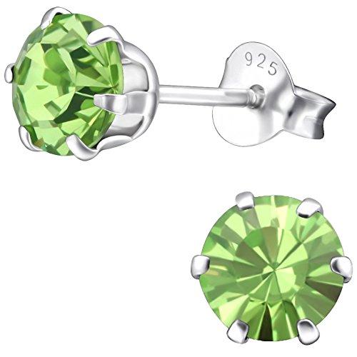 EYS JEWELRY Ohrstecker Damen rund 925 Sterling Silber Swarovski Elements Glitzer Kristalle peridot-grün Damen-Ohrringe