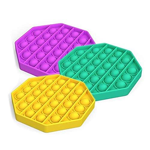 FEIGER Juguete antiestrés de Silicona para aliviar el estrés de Las Necesidades Especiales del Autismo, Juguete sensorial para apretar (púrpura + Verde + Amarillo) (OC
