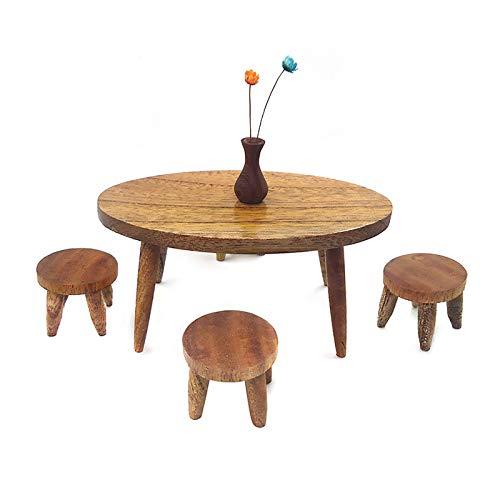Hunpta @ 5 Stück Esstisch Stuhl Modell Set 1/12 Puppenhaus Möbel aus Holz Puppenmöbel Zubehör Lernspielzeug Kinder Rollenspiel Spielzeug Partyspiele Kreativ Geschenk für Jungen Mädchen