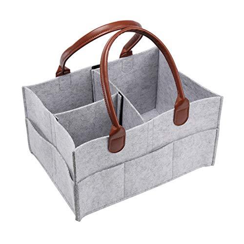 SUXIU Care Children Large Capacity Travel Portable Nursery Nappy Bags Diaper Storage Felt Storage Bag Diaper Bags(Grey&Coffee)