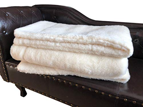 Oberbett aus Wolle, Bettüberwurf, Tagesdecke, Sofaüberwurf Merino gelockt, Merinowolle. Größe: 140x200