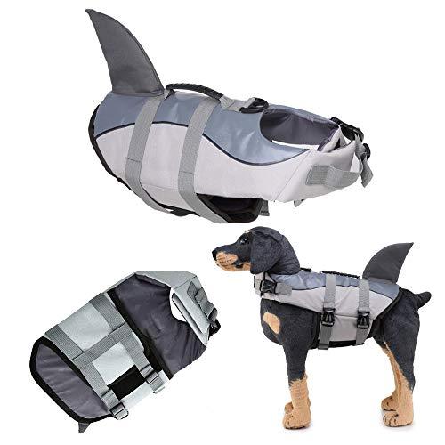 F FINEC Chaleco salvavidas para perros, chaleco salvavidas para animales domésticos con asa para perros pequeños, medianos y grandes, talla ajustable (L, gris)