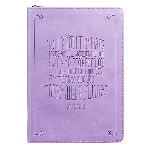 I Know the Plans Jeremiah 29:11 Bible Verse Purple Faux Leather Journal w/Ribbon Inspirational Zippered Notebook w/Lined Pages, 6.5 x 8.75 Inches