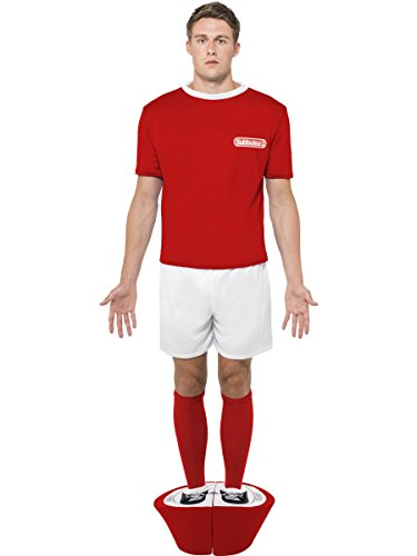 Red and White Subbuteo Player Costume for Men, Large Size