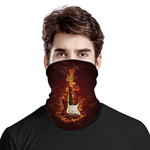 Gran cara cubierta bufanda protección cuello, guitarra eléctrica en llamas ardiendo fuego Hardrock concepto creativo musical, variedad bufanda de cabeza unisex
