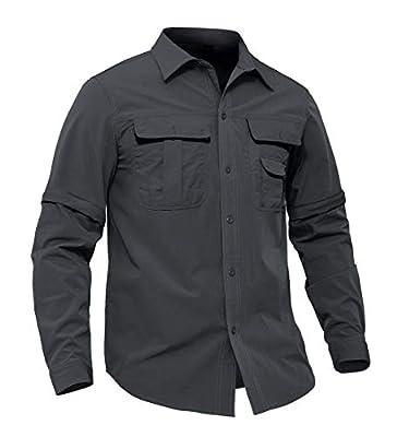 EKLENTSON Men's Hiking Shirt Long Sleeve Quick Dry Tactical T Shirt Convertible Camping Shirt Gray