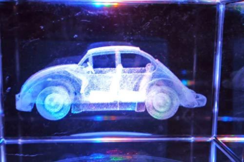 Générique Cube 3D Laser Cristal Motif Voiture Auto Coccinelle Volkswagen avec Socle Lumineux LEDs à Piles