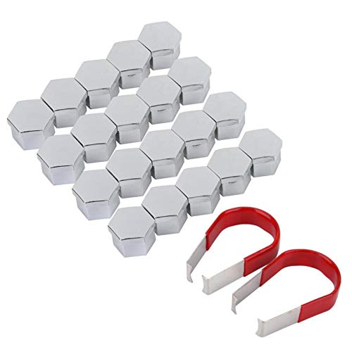CFHMLK 20 piezas de tuerca de rueda de tuerca de tornillo cubierta protectora de neumático cubierta de cubierta con herramientas de extracción decoración de rueda de coche
