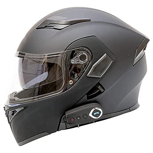 ZYTOSETR Auricular Bluetooth Flip Up Front Moto Cascos DOT aprobado anti-niebla doble visera Crash Racing casco de motocicleta reducción de ruido ventilación para adultos hombres mujeres 57 ~ 64 cm
