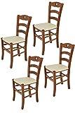 Tommychairs - Set 4 sedie modello Cuore per cucina bar e sala da pranzo, robusta struttura in Legno di faggio color noce chiaro e seduta rivestita in pelle artificiale color avorio