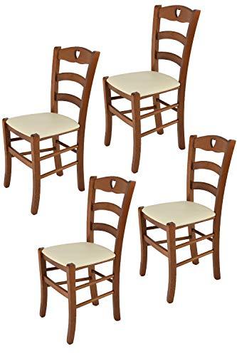 Tommychairs - Set 4 sillas Cuore para Cocina y Comedor, Estructura en Madera de Haya Color Nuez Claro y Asiento tapizado en Polipiel Color Marfil