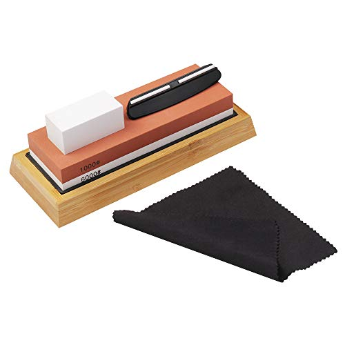 DIBALA Double-sided Sharpening Stone Set,1000/6000 Grit Professional Whetstone Knife Sharpener With Non-Slip Bamboo Base & Angle corrector,Best wet stone of Kitchen Tool, Ideal Sharpener for All Blade