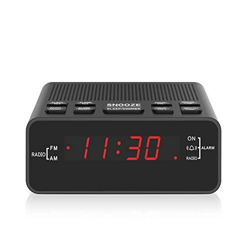 Digital FM AM Radiowecker Uhr Mit Nachtlicht-Funktion, Easy Snooze, Dual Alarm, Sleep-Timer – Anpassbare Helligkeitsregulierung (At-51)