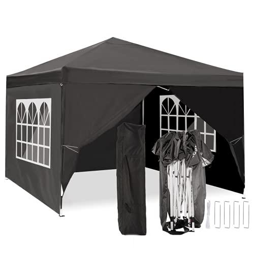 TOOLUCKCARPA 3x3m Carpa Plegable Cenador Plegable Pergola Cenador de jardín, Impermeables protección UV (Negro, 3x3m)