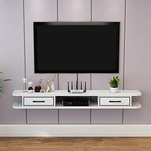 Modern TV Console Storage Wall Mounted TV Cabinet TV meubel kabinet open vak TV Floating Storage Shelf Multifunctionele Locker dvd Satelliet-tv Rekboxen (Color : White, Size : 120cm)