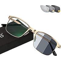 Gafas de lectura para hombre: gafas de sol fotocromáticas de transición con lector anti-Blu-ray, espejo plano ultra ligero de metal con montura rectangular / dioptría UV400 + 0.25- + 3.0,Oro,+1.5