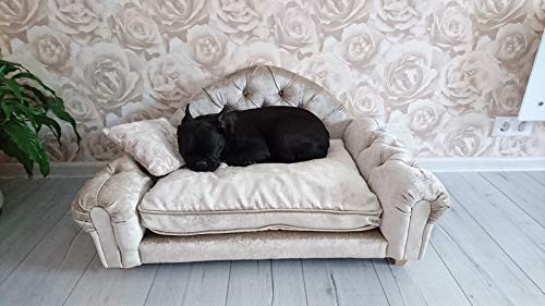 Jaukumo Vizija Steve - hundebett Couch, hundesofa Chesterfield, Katze, Größe 86 x 49 cm, Handmade (M (86 x 49 cm), Schwarz)