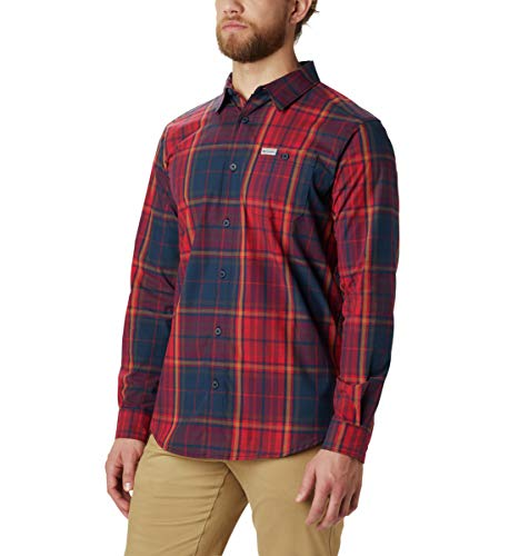 Columbia Men's Boulder Ridge Long Sleeve Shirt, Red Jasper Large Tartan, 4X/Tall