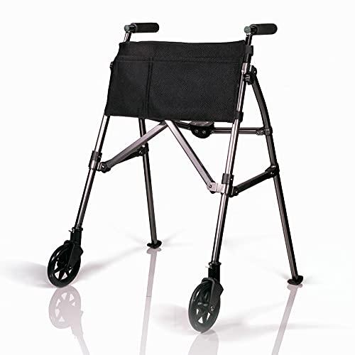 Stander EZ Fold-N-Go Walker 折り畳み歩行器 大人用 歩行器 介護 シルバー カー 手押し車 高齢者 、ウォーカーグライドスキー、車輪、オーガナイザーポーチ付、ブラックウォールナット [並行輸入品]