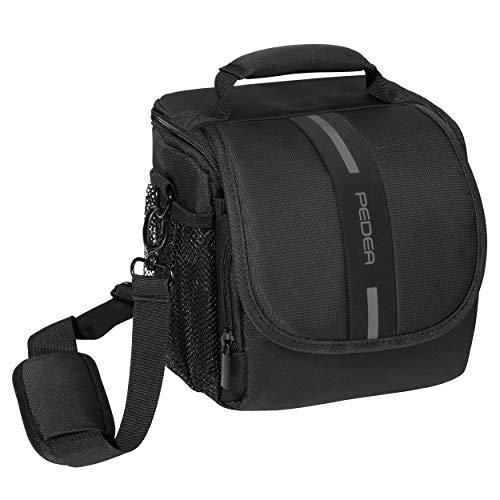 PEDEA DSLR-Kameratasche Essex Fototasche für Spiegelreflexkameras mit wasserdichtem Regenschutz, Tragegurt & Zubehörfächern, Gr. M schwarz/grau