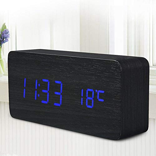 Ecotek Modern Holz Holz USB/AAA Digital LED Wecker Kalender Thermometer Schwarz mit Blaulicht
