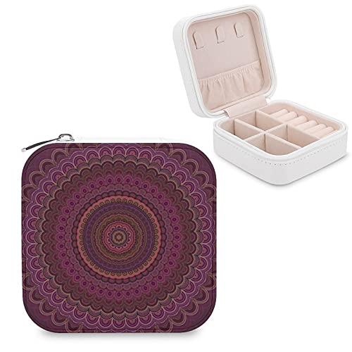 Organizador de joyas de viaje para niñas, mujeres, color morado oscuro, funda de almacenamiento portátil para anillos, pendientes, collares