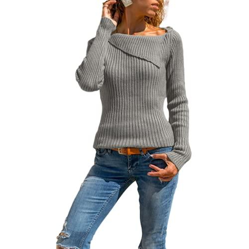 Camisa Casual de Manga Larga de Todo fósforo para Mujer, suéter Superior de Personalidad de Moda con Solapa Irregular de Color sólido clásico de otoño 5XL