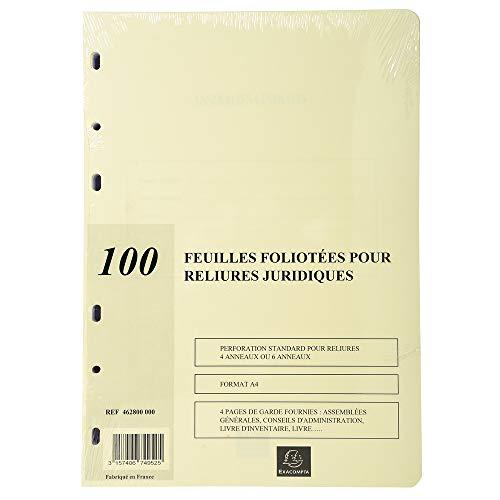 Exacompta 100 feuilles foliotees pour reliures juridiques- Perforation 6 trous