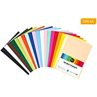 perfect ideaz Papel tintado DIN-A5 (148 x 210 mm) 100 hojas de colores, en 20 colores diferentes, grosor de 120g/m², Papel para manualidades de la mayor calidad