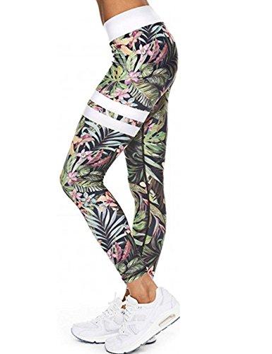 Mallas Deportivas Mujer Leggins Yoga Pantalon Elastico Cintura Altura Polainas para Running Pilates Fitness, A-flor Gris, L