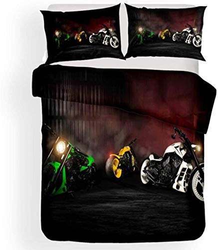 JCCYFRGE Juego De Funda Nórdica Cama Infantil, 3 Piezas Impresión Patrón Simple De Tema De Deporte De Motocicleta Todoterreno Fresco 180X220 Cm 3D Ropa De Cama De Microfibra Funda De Edredón con 2 F