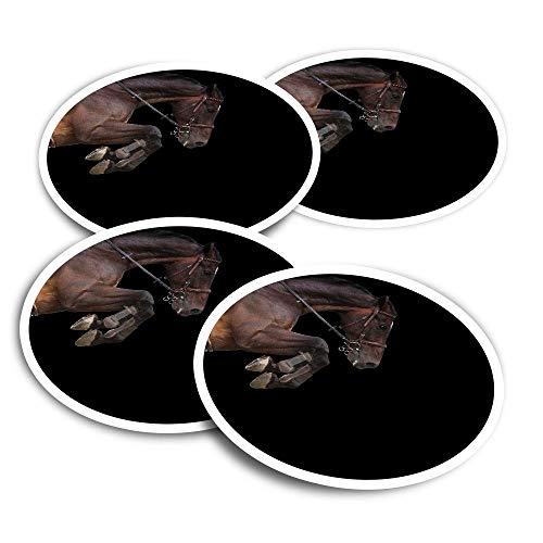 Pegatinas de vinilo (juego de 4) 10 cm – Caballo saltando jinete ecuestre divertidos adhesivos para ordenadores portátiles, tabletas, equipaje, reserva de chatarra #45358