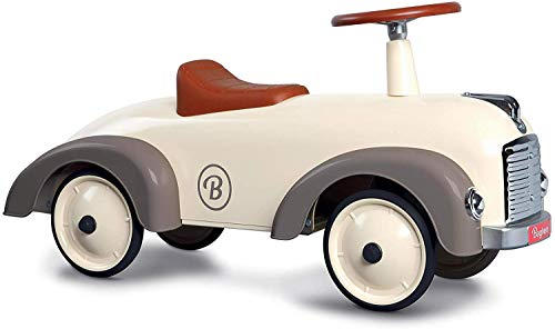 Baghera Rutschauto Speedster Cremeweiß   Rutschfahrzeug für Kinder - zahlreiche lebensechte Details   Retro Rutschauto für Kinder ab 1 Jahr