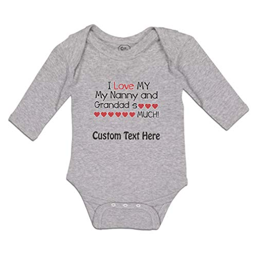 Baby Clothes Long Sleeve Bodysuit I Love My Nanny and Grandad So Much! Boy & Girl Cotton Oxford Gray Personalized Text Here 12 Months