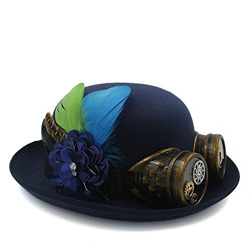 LXH-SH Wild Classique Handwork Fedora Chapeau Steampunk Bowler Chapeau pour Femmes Hommes Gear Lunettes Cosplay Chapeau Halloween Plume Partie Top Hat (Color : Dark Blue, Size : 58CM)