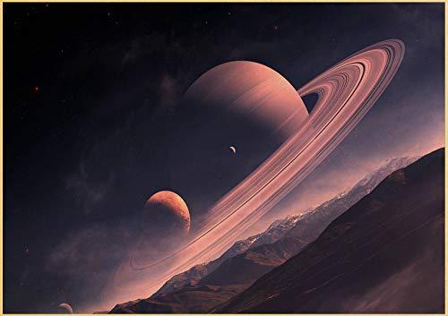 YuPancjua Neun Planeten des Sonnensystems Kunst Retro Art Poster Hochwertige Home Bar Dekoration Wandbild Frameless50X60Cm G6265